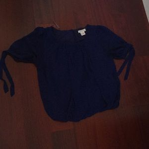 Blue Blouse with tie up sleeves and elastic bottom